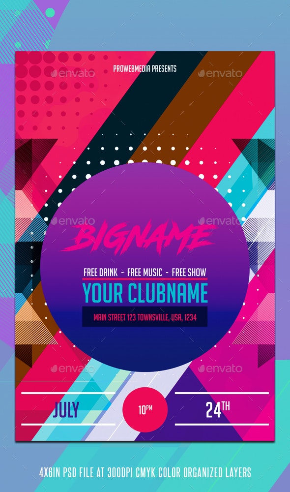 Colorful Geometric Party Flyer Template - Flyers Print Templates