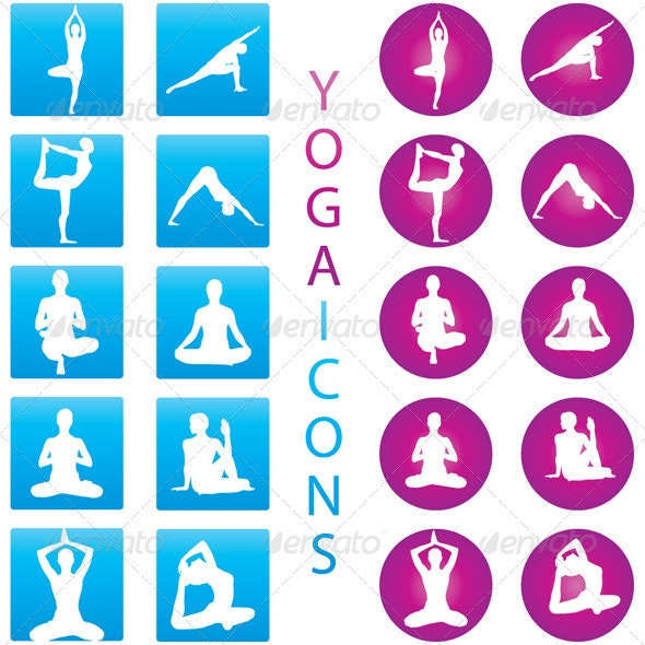 Yoga Icons - Illustration Set - People Characters