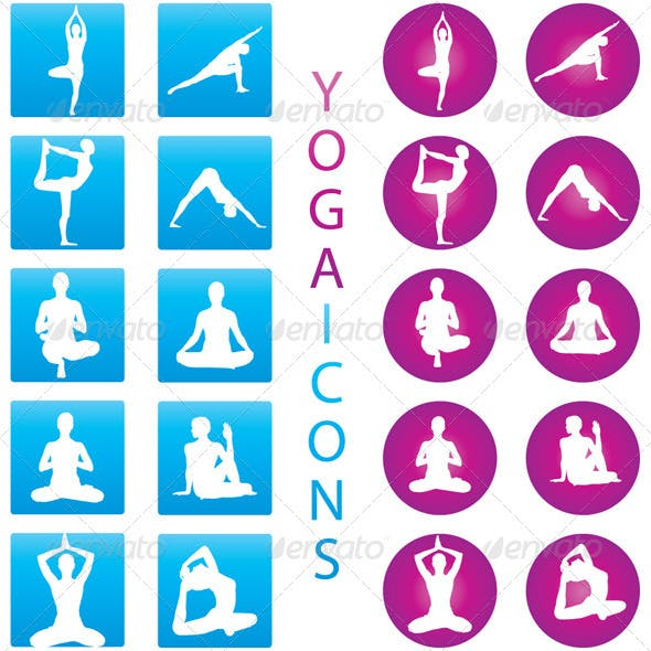 Yoga Icons - Illustration Set