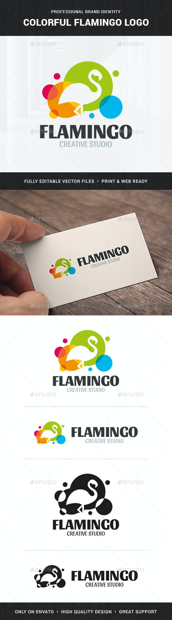 Colorful Flamingo Logo Template - Animals Logo Templates