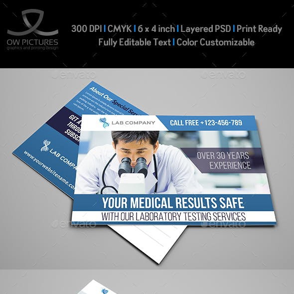 Medical Laboratory Postcard Template