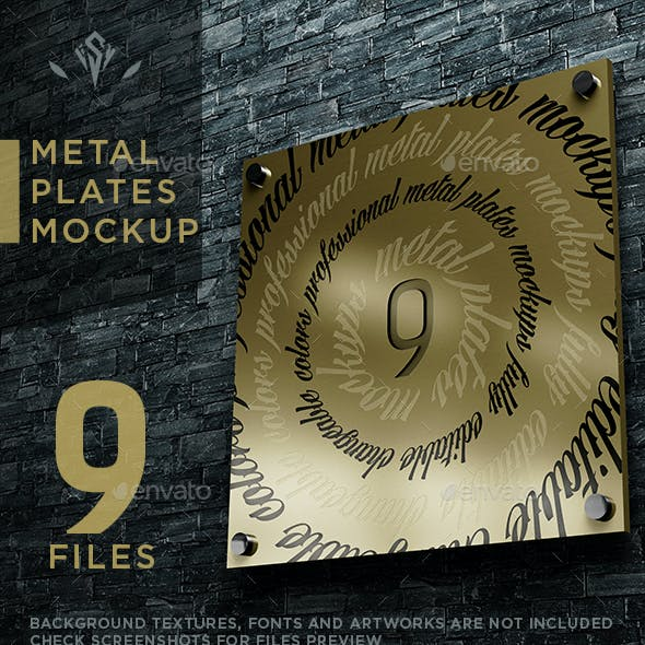 9 Metal Plates Mockup
