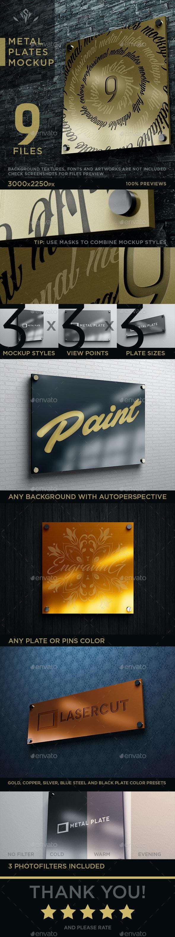 9 Metal Plates Mockup - Logo Product Mock-Ups