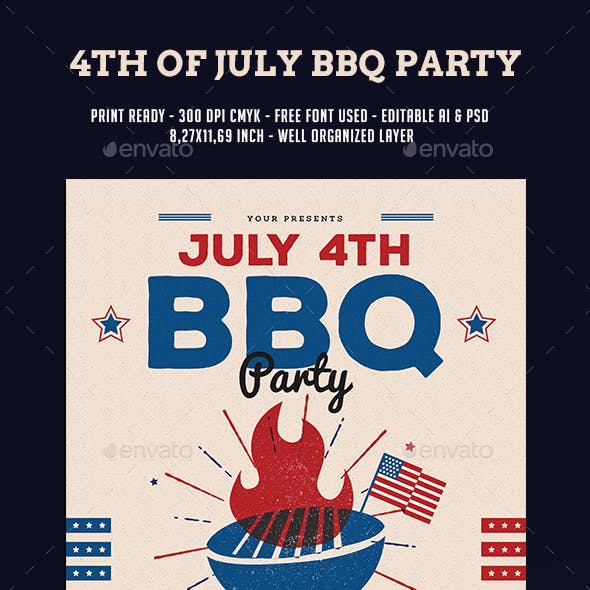 4th Of July BBQ Party Flyer
