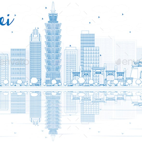 Outline Taipei Skyline with Blue Buildings and Reflections.