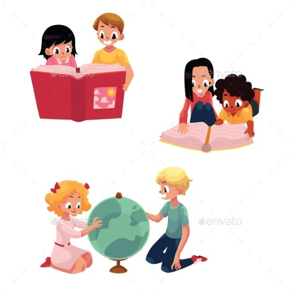 Kids, Children Reading, Studying, Learning