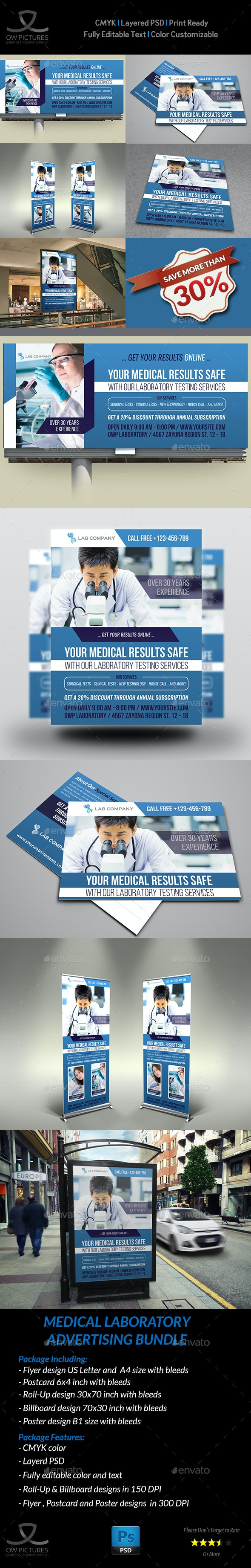 Medical Laboratory Advertising Bundle - Signage Print Templates