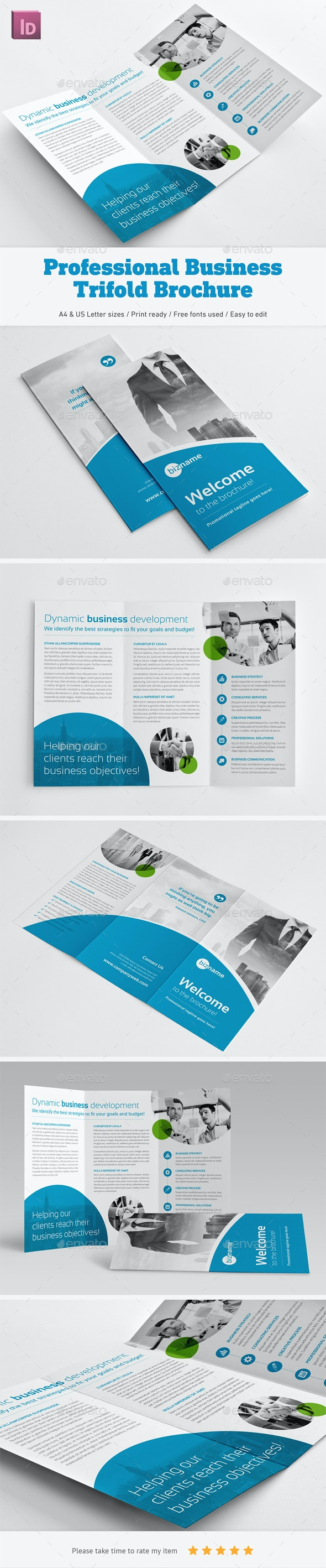 Professional Business Trifold Brochure - Corporate Brochures