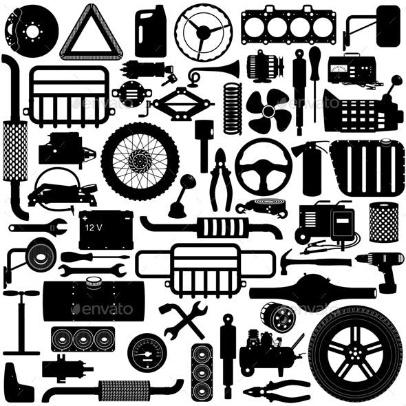 Vector Car Parts Pictogram