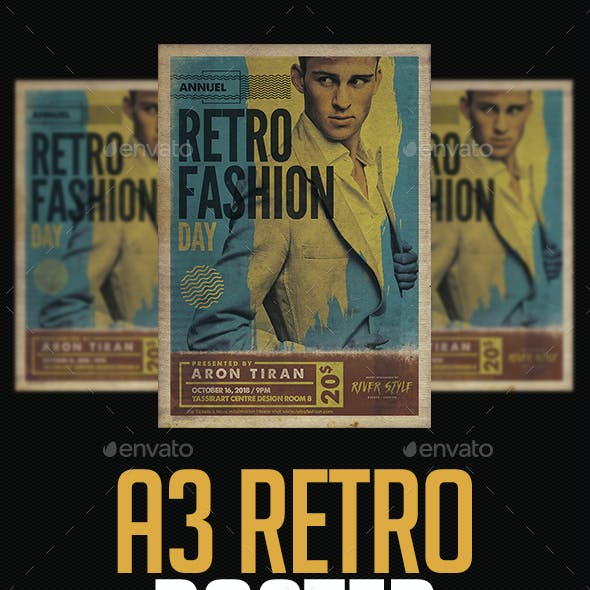 A3 Retro Fashion Day Poster Template