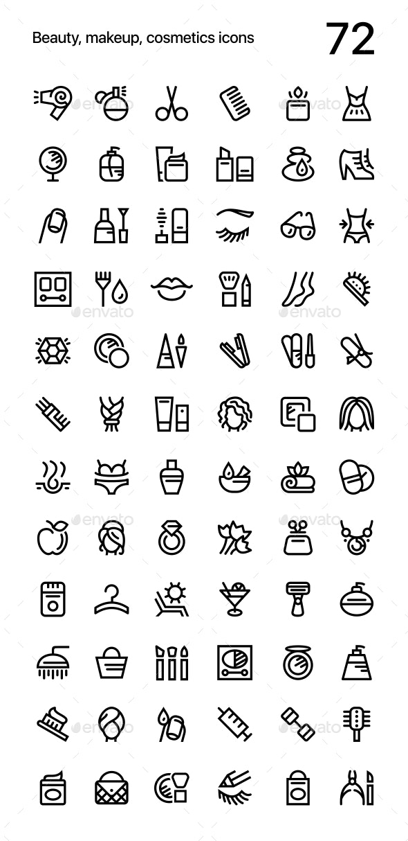 Beauty, Makeup, Cosmetics Icons Pack for Web and Mobile Apps - Miscellaneous Icons