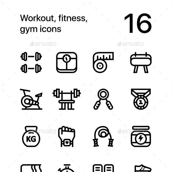 Workout, Fitness, Gym Icons for Web and Mobile Design Pack 1