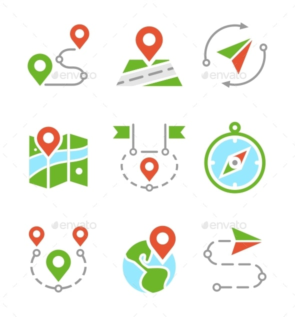Geo Location, Travel, Journey, Map Marker Flat Colored Vector Icons - Miscellaneous Icons
