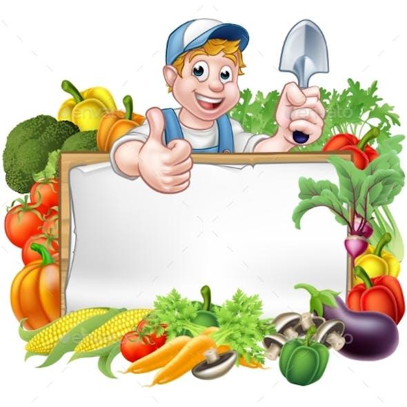 Cartoon Gardener Vegetables Sign