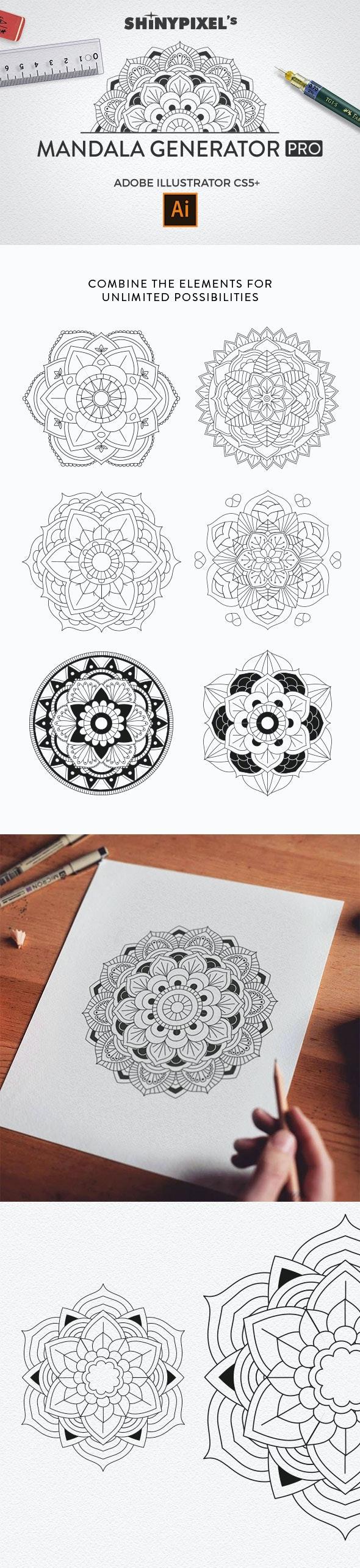 Mandala Generator PRO - Brushes Illustrator