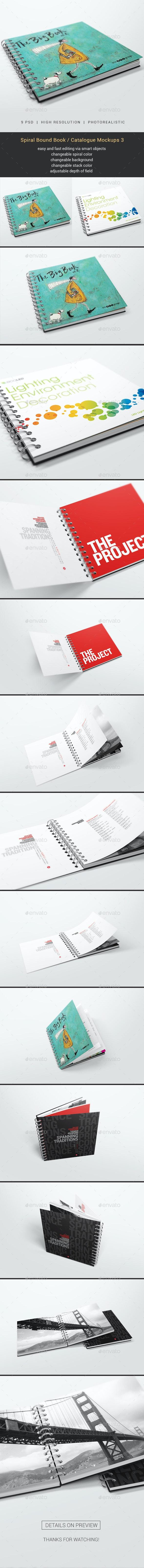 Spiral Bound Book / Catalogue Mockups 3 - Books Print
