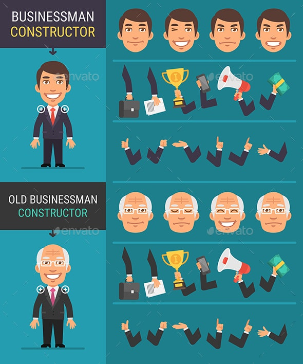 Constructor Character Businessman and Old Businessman - People Characters