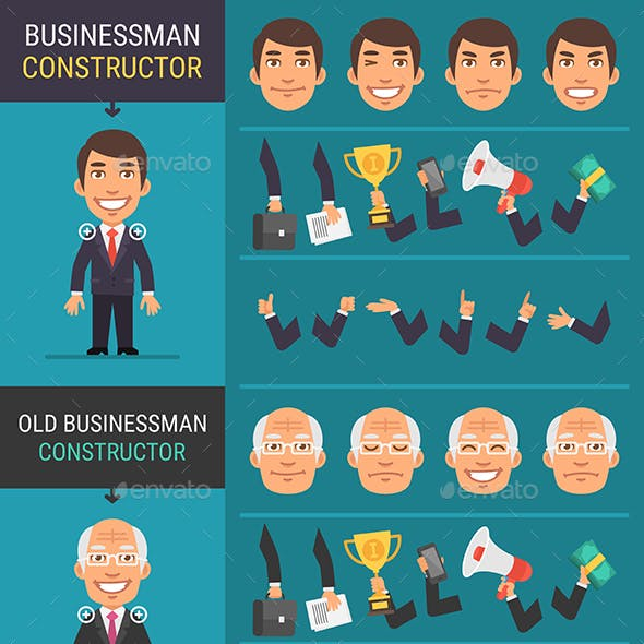 Constructor Character Businessman and Old Businessman