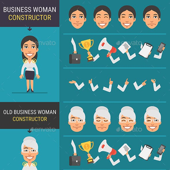 Constructor Character Businesswoman and Old Businesswoman