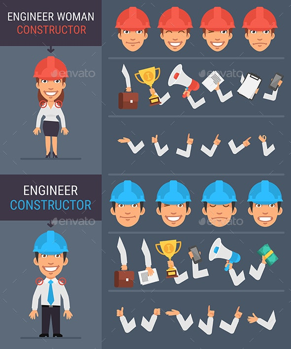 Constructor Character Engineer Woman and Engineer Man - People Characters