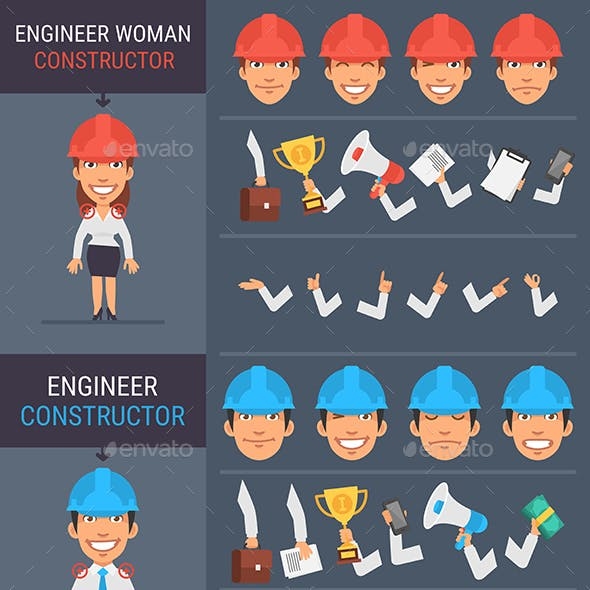 Constructor Character Engineer Woman and Engineer Man