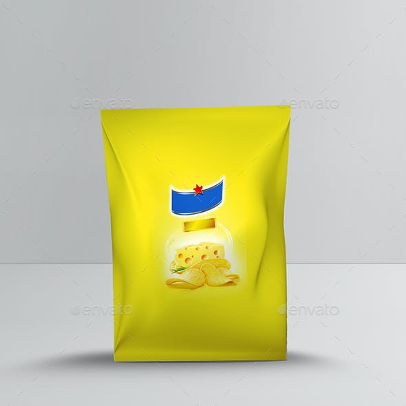 Small Size Potato Chips Bag Mockup