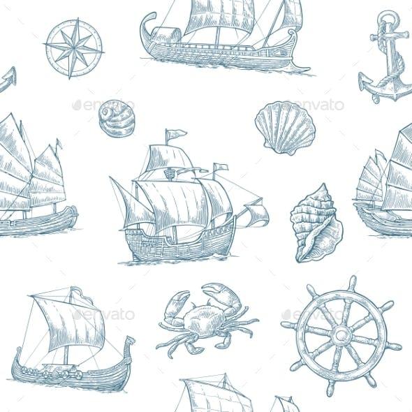 Trireme, Caravel, Drakkar, Junk. Set Sailing Ships