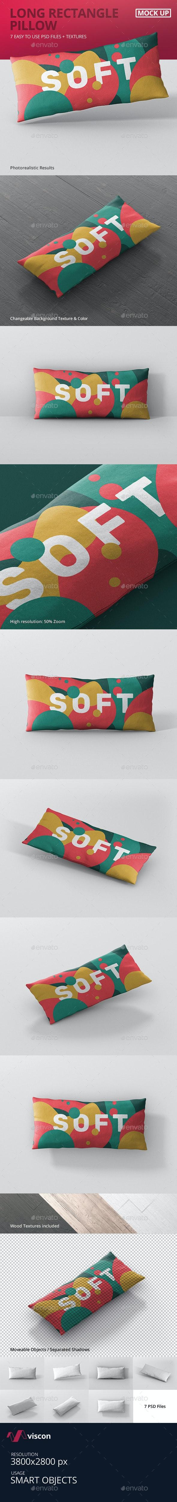 Pillow Mockup - Long Rectangle - Miscellaneous Product Mock-Ups