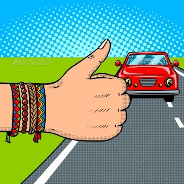 Hitchhiking Pop Art Vector Illustration