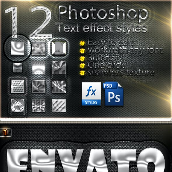 12 Photoshop SILVER Text Effect Styles Vol 22