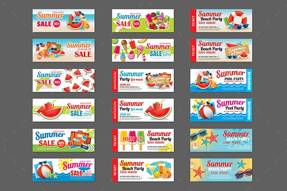 Summer Sale and Party Invitation Ticket Template Background - Seasons Nature