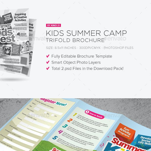 Kids Summer Camp Trifold Brochure
