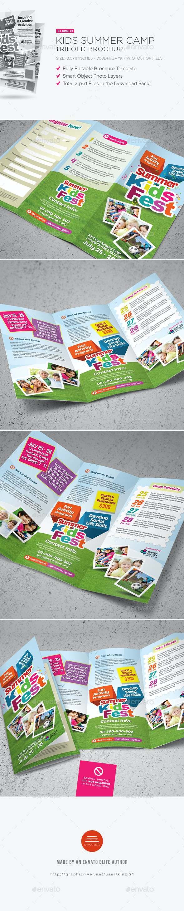 Kids Summer Camp Trifold Brochure - Corporate Brochures
