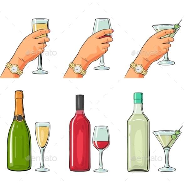 Set of Alcoholic Drinks