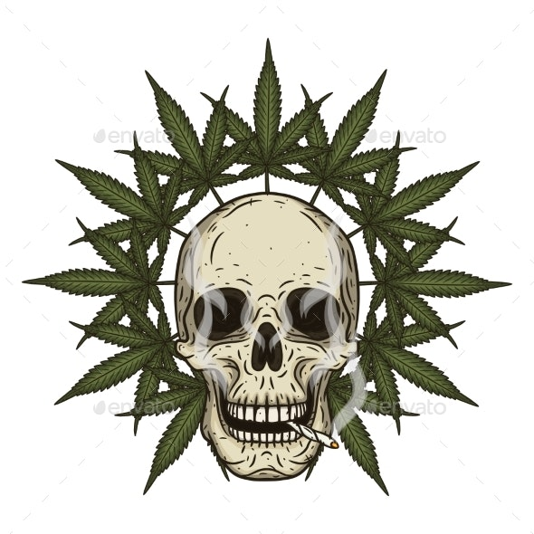 Rastaman Skull with Cannabis Leaves - Miscellaneous Vectors