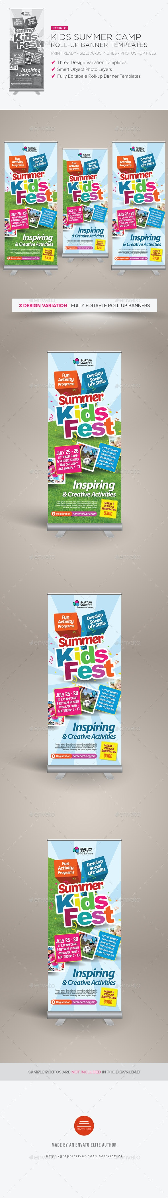 Kids Summer Camp Roll-up Banners - Signage Print Templates
