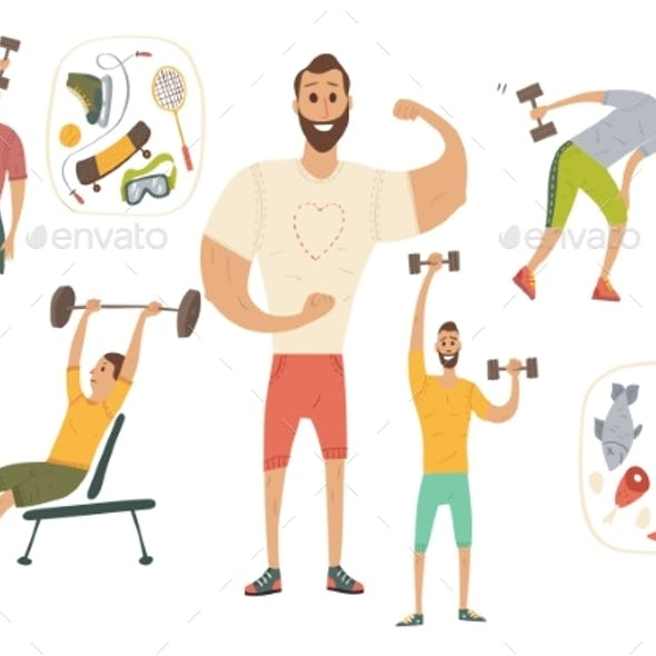 People Workout with Sports Equipments, Exercises