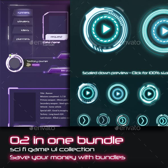 2 in 1 Sci-Fi UI Bundle