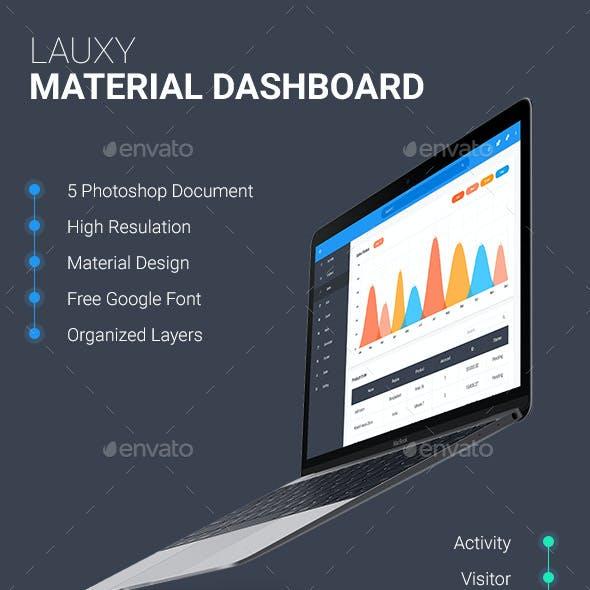 Lauxy - Material Dashboard Template PSD   Dashboard  UI Kit