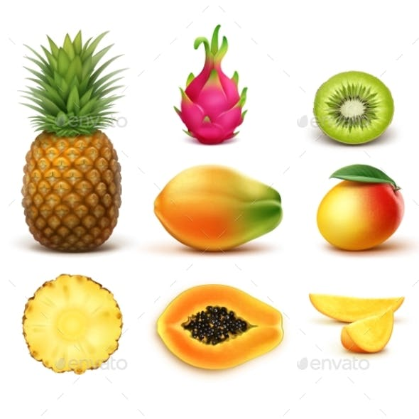 Set of Tropical Fruits