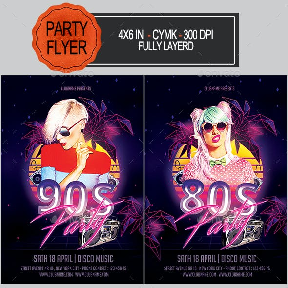 80's 90's Party Flyer