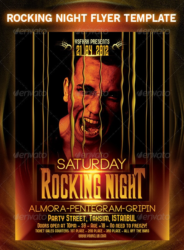 Rocking Night Flyer Template - Flyers Print Templates