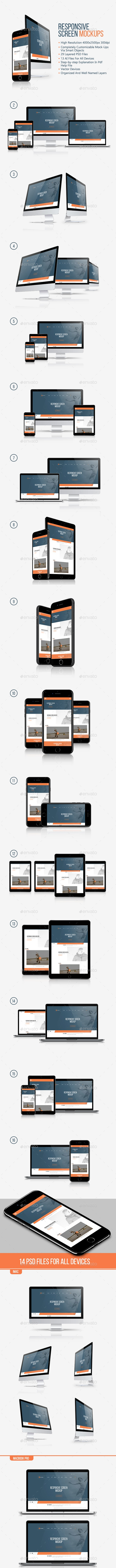 Responsive Screen Mockup - Multiple Displays