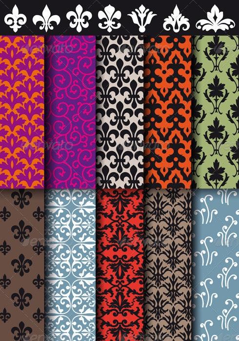 Seamless Baroque Patterns, Vector - Patterns Decorative