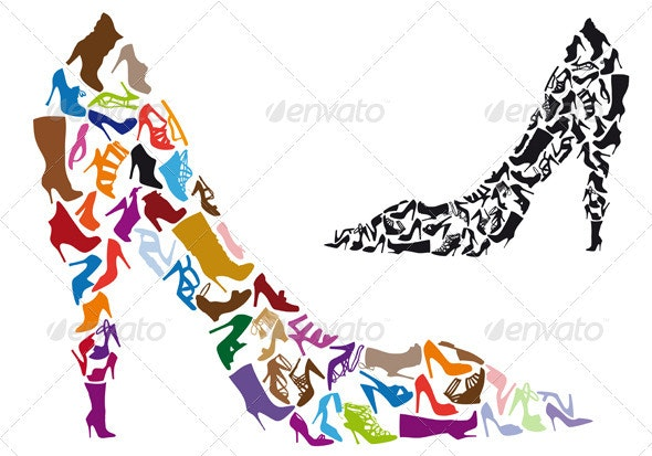 Shoe Silhouettes, Vector - Man-made Objects Objects