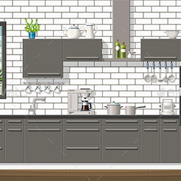 Interior Equipment of a Modern Kitchen