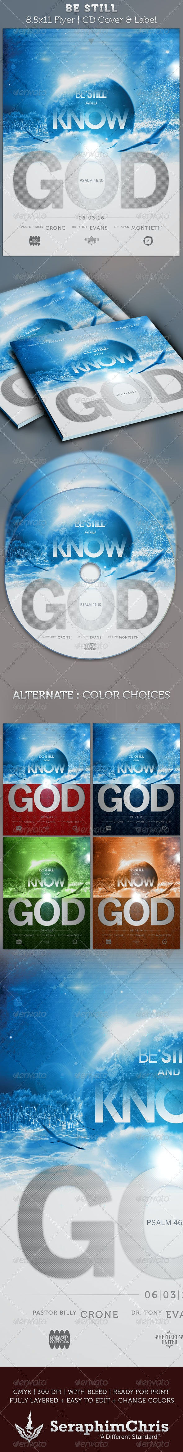 Be Still Full Page Flyer and CD Cover Template - Church Flyers
