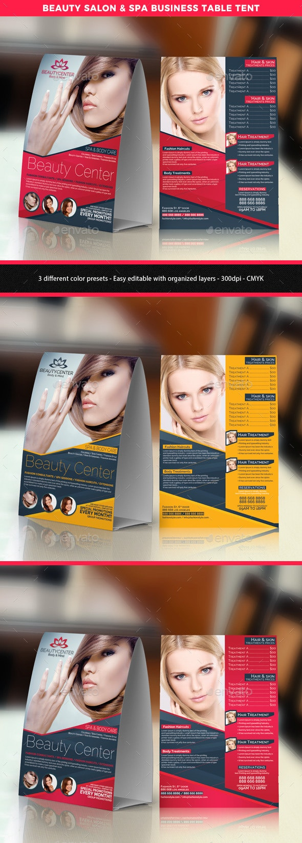 Beauty Center Table Tent Template - Print Templates