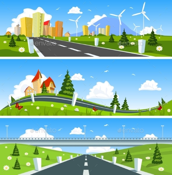 Scenic Road Through the Countryside. Vector - Landscapes Nature