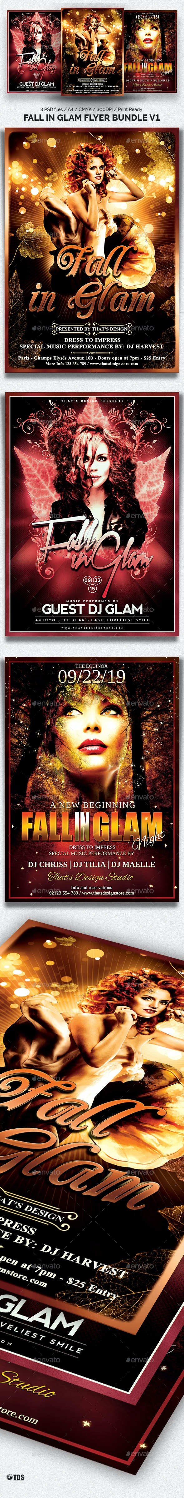 Fall in Glam Flyer Bundle V1 - Clubs & Parties Events